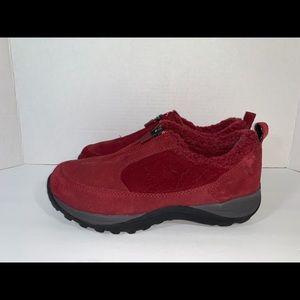 L.L. Bean red clogs fur lined Sz 7.5 zipper mule